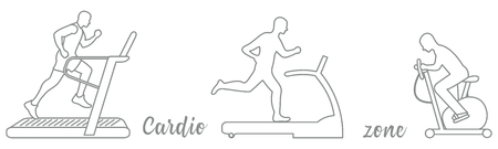 Time to fitness and sports. Healthy lifestyle. People involved in sports. Treadmills, exercise bike. Stock Illustratie
