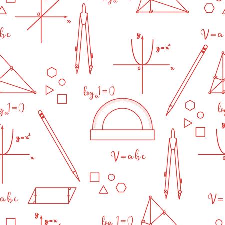 Modèle sans couture de vecteur scientifique mathématique avec des tracés de géométrie, des outils et des formules. Éléments éducatifs. Boussoles, rapporteur, crayon, graphisme, droit, parabole, formules, triangle, parallélogramme.