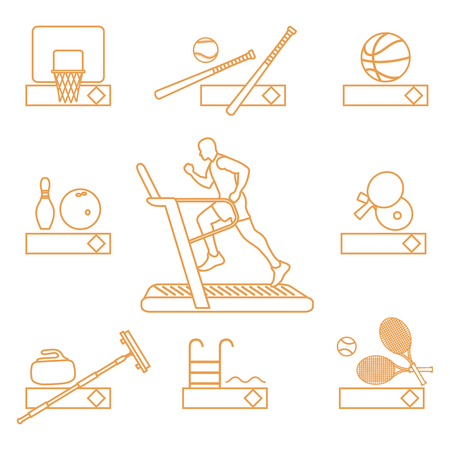 Time to fitness and sports. Healthy lifestyle. Running track with running man. Equipment for playing games and team sports. Ilustração