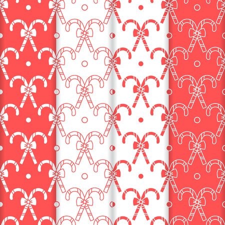 Set of 4 Happy New Year 2019 and Christmas seamless pattern. Vector illustration with candy canes and bows. Design for wrapping, fabric, print. Vettoriali