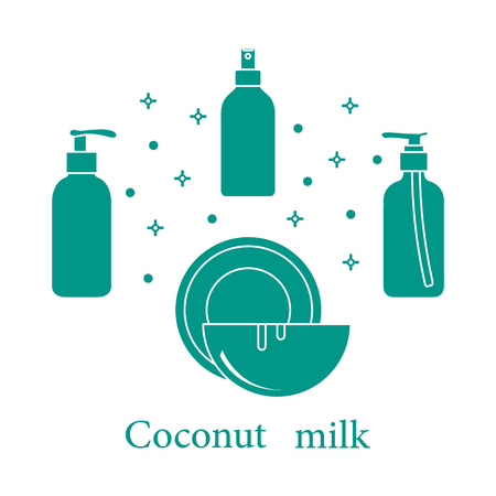 Coconut milk for cosmetics and care products. Glamour fashion vogue style.