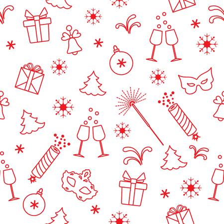 Modello senza cuciture con i simboli del nuovo anno. Regali, petardi, fuochi d'artificio, perline, bicchieri con champagne, campana, albero di natale, maschera, calendario, stelle, fiocchi di neve.