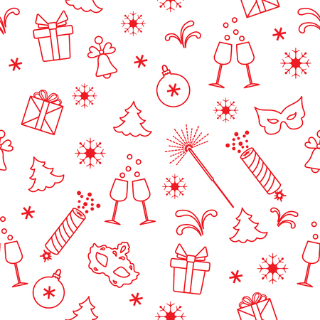 Seamless pattern with new year symbols. Gifts, firecrackers, fireworks, bead, glasses with champagne, bell, christmas tree, mask, calendar, stars, snowflakes.