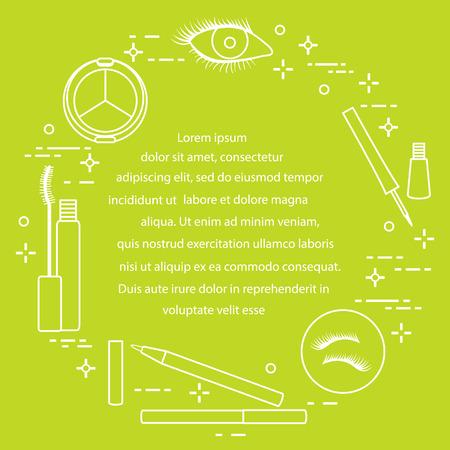 Eye makeup infographic. Decorative cosmetics. Glamour fashion vogue style. Ilustrace
