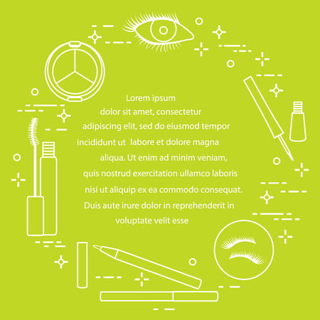 Infografik zum Augen-Make-up. Dekorative Kosmetik. Glamour-Mode-Vogue-Stil.