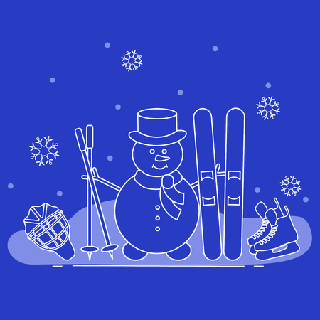Enjoy winter outdoors. Snowman with ski and hockey equipment. Vector cartoon skier symbol. Design for advertisement of active lifestyle.