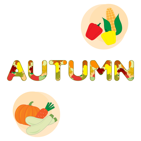 Vector illustration with carrot, zucchini, corn, pepper, pumpkin and autumn inscription. Harvest festival. Thanksgiving Day. Vegetable, fruit icons or print. Ilustração