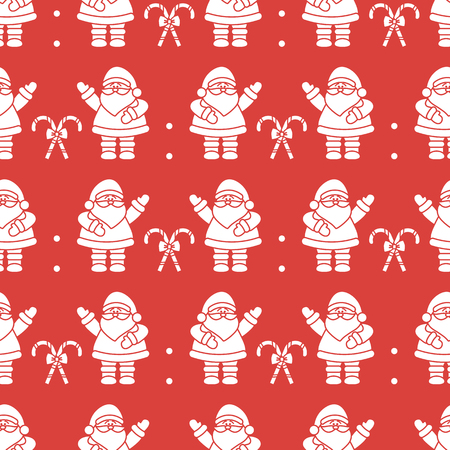 Happy New Year 2019 and Christmas seamless pattern. Vector illustration with Santa Claus, candy canes. Design for wrapping, fabric, print.