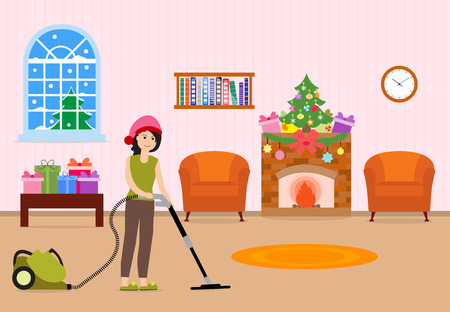 Happy New Year 2019 and Christmas vector illustration. Girl cleans and decorates the room for the holidays.