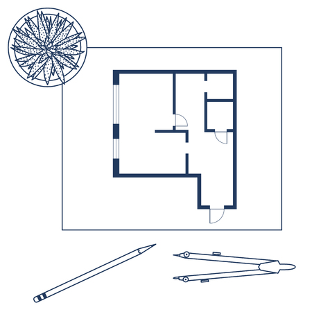 Vector illustration with apartment plan, compass, pencil, cactus. Architecture project. Vettoriali