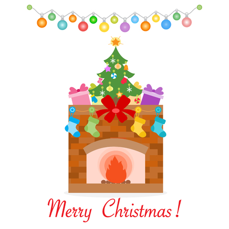 Happy New Year 2019 and Christmas vector illustration. Fireplace, decorated Christmas tree, gifts, Christmas socks, garlands.
