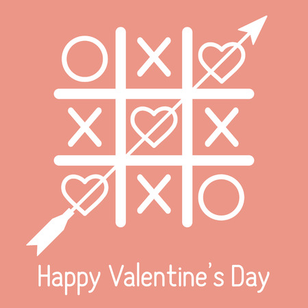 Vector illustration of tic-tac-toe game with hearts and arrow. Happy Valentines Day. Design for greeting card, party card, banner, poster or print. Çizim
