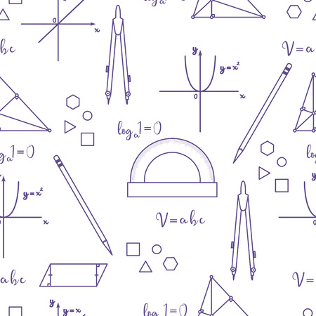 Mathematical scientific vector seamless pattern with geometry plots, tools and formulas. Education elements. Compasses, protractor, pencil, graphics, straight, parabola, formulas, triangle, parallelogram.