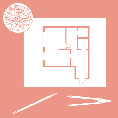 Vector illustration with apartment plan, compass, pencil, cactus. Architecture project. Illustration