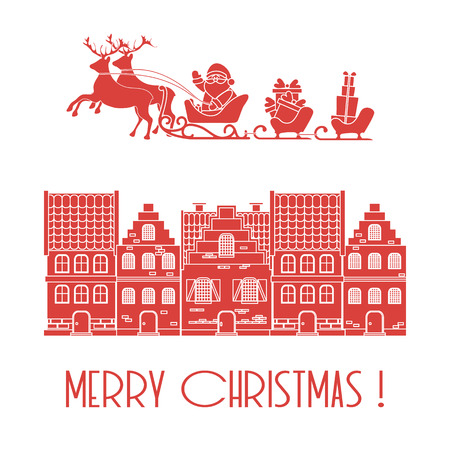 Christmas card. Vector illustration Santa Claus with gifts in sleighs with reindeers and houses. Design for postcard, banner, print.