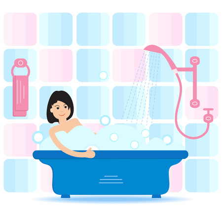 Vector cartoon style illustration of woman taking a bath full of soap foam. Relaxing girl in bathroom. Bathroom interior.