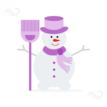Vector illustration with snowman in hat and scarf with broom. Funny cartoon winter illustration . Happy New Year, Christmas greeting card.