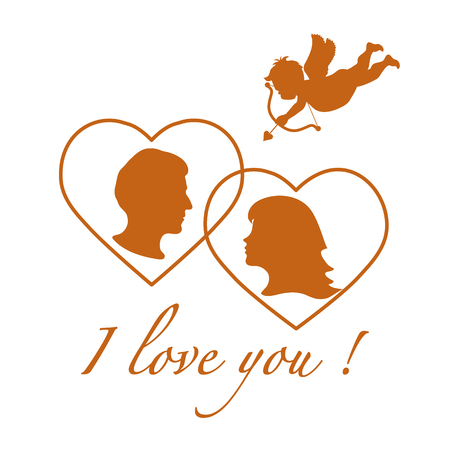Vector illustration with cupid archery and a couple in love. Happy Valentines Day. Design for party card, banner, poster or print.
