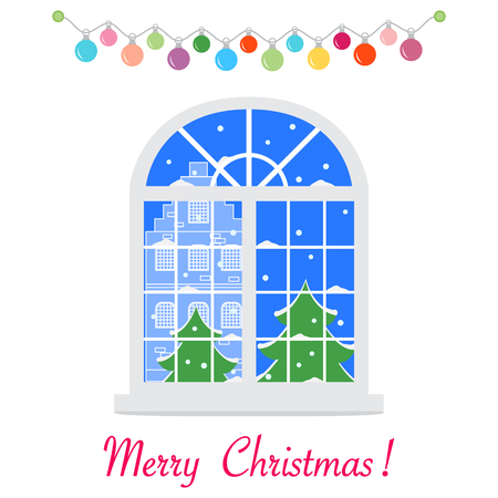 Happy New Year 2019 and Christmas vector illustration. Christmas window with a view of the winter landscape decorated with garlands. Christmas trees, house, snow. Illustration