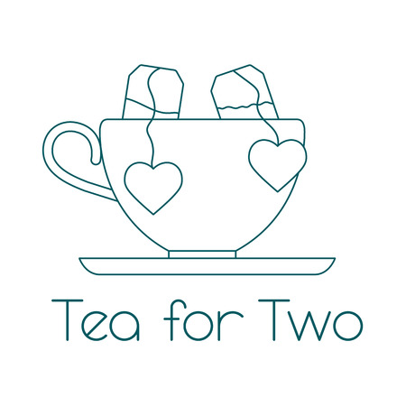 Ilustración de vector con taza, dos bolsitas de té con corazones. Té para dos. Feliz día de San Valentín.