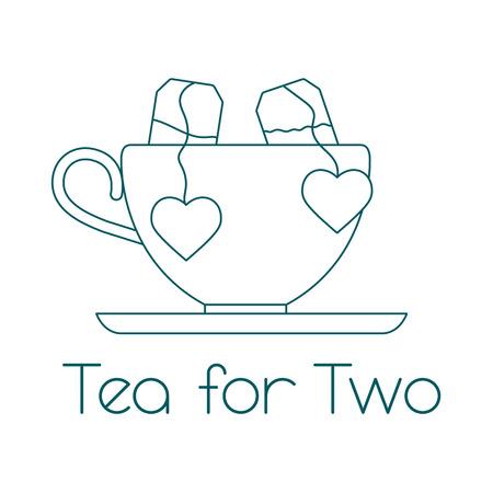 Vektor-Illustration mit Tasse, zwei Teebeutel mit Herzen. Tee für zwei. Fröhlichen Valentinstag.