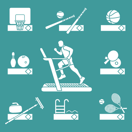 Time to fitness and sports. Healthy lifestyle. Running track with running man. Equipment for playing games and team sports. Illustration