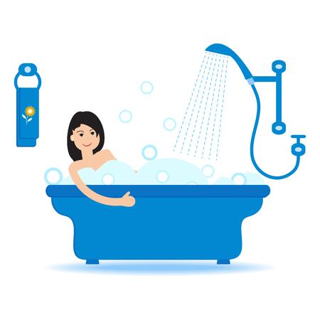 Vector cartoon style illustration of woman taking a bath full of soap foam. Relaxing girl in bathroom. Bathroom interior.