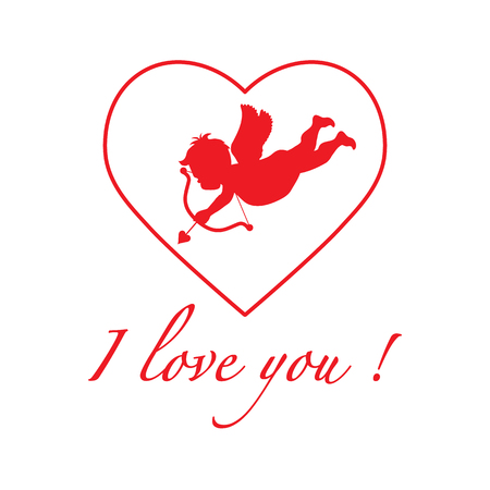 Vector illustration with cupid archery. Love symbol. Valentine's Day. Design for party card, banner, poster or print. Vettoriali