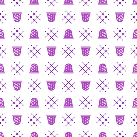 Seamless pattern with thimbles. Sewing and needlework background. Template for design, fabric, print. Векторная Иллюстрация