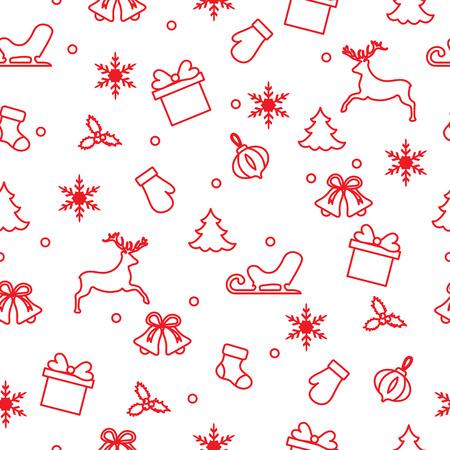 Bonne année 2019 et modèle sans couture de Noël. Illustration d'hiver avec mitaines, traîneau, cadeau, flocons de neige, cerf, cloche, chaussette de Noël, gui, arbre de Noël.