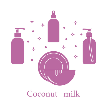 Coconut milk for cosmetics and care products. Glamour fashion vogue style. Banco de Imagens - 111952574
