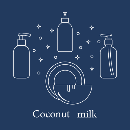 Coconut milk for cosmetics and care products. Glamour fashion vogue style. Banco de Imagens - 111952585