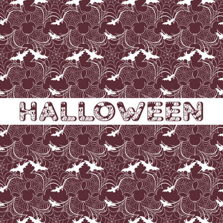 Halloween vector seamless pattern with web and bat. Design for party card, wrapping, fabric, print. 写真素材 - 127708078