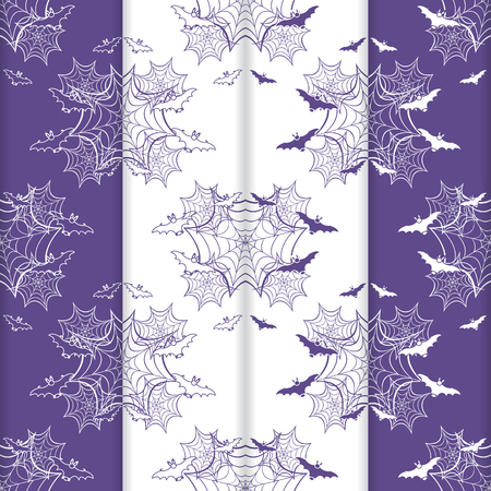 Set of 4 halloween vector seamless pattern with web and bat. Design for party card, wrapping, fabric, print. 写真素材 - 127708082