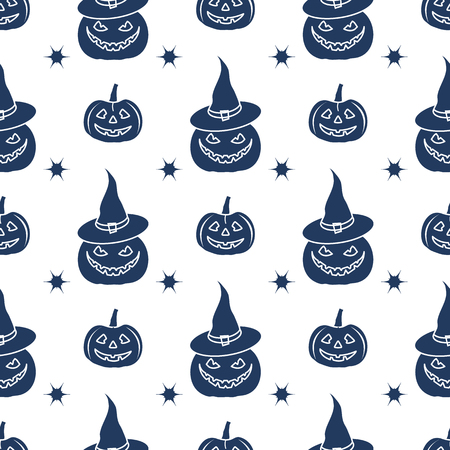 Halloween 2019 vector seamless pattern with pumpkins, witch hat. Design for party card, wrapping, fabric, print. Vectores