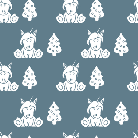 Seamless pattern with unicorns and Christmas tree. Christmas and New Year 2019 background. Design for wrapping, fabric, print.