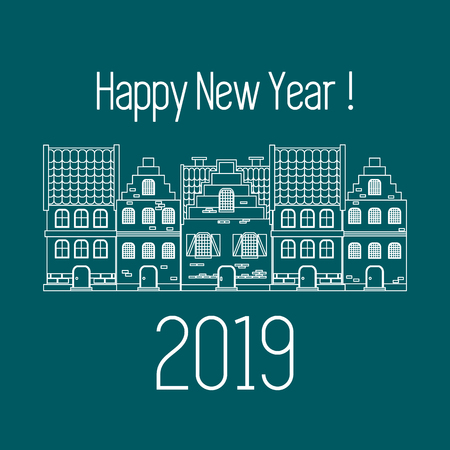 Happy New Year 2019 card. Vector illustration houses. Design for postcard, banner, print.  イラスト・ベクター素材