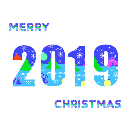 Inscription Merry Christmas and numbers 2019 decorated with Christmas symbols. Festive background. 写真素材 - 127708090