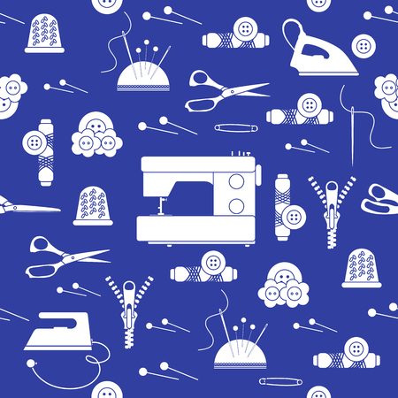 Seamless pattern with zipper, needles, thimble, pins, threads, buttons, scissors, sewing machine, iron. Sewing and needlework background. Template for design, fabric, print. 写真素材 - 127708092