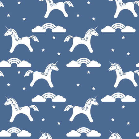 Seamless pattern with magic unicorn and stars, clouds, rainbow. Design for children graphic, t-shirt, cover, gift card. 写真素材 - 127708094