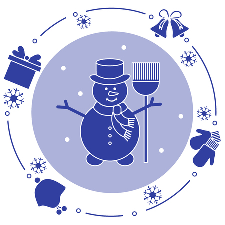 Vector illustration: snowman in hat with broom, gift, rings, mittens, children's hat, snowflakes. Funny cartoon winter illustration. Happy New Year, Merry Christmas elements. 写真素材 - 127708098