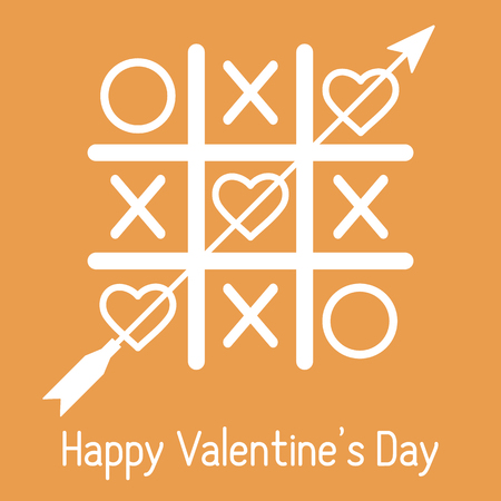 Vector illustration of tic-tac-toe game with hearts and arrow. Happy Valentines Day. Design for greeting card, party card, banner, poster or print.  イラスト・ベクター素材