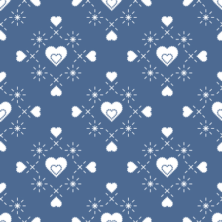 Cute seamless pattern with hearts. Happy Valentines Day. Romantic background. Design for party card, paper, wrapping, fabric.  イラスト・ベクター素材