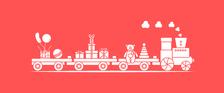 Funny vector illustration with train carries toys: pyramid, bear, gifts, ball, drum, balloons. Happy New Year 2019, Christmas, Birthday. Sale, shopping concept. 写真素材 - 127708105