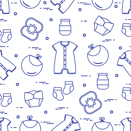Seamless pattern with goods for babies. Newborn baby background. Bib, baby food can, rattle, socks, diapers, bodysuit. Vectores