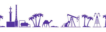 Vektor nahtloses Muster mit Ausrüstung für Ölproduktion, Raffinerieanlage, Kamel, Palmen. Überschrift oder Fußzeile Banner. Design für Verpackung, Stoff, Poster oder Druck.