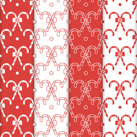 Set of 4 Happy New Year 2019 and Christmas seamless pattern. Vector illustration with candy canes and bows. Design for wrapping, fabric, print. Ilustração
