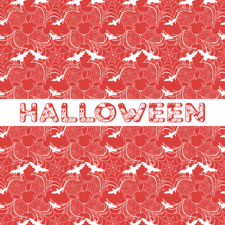 Halloween vector seamless pattern with web and bat. Design for party card, wrapping, fabric, print.