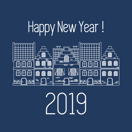 Happy New Year 2019 card. Vector illustration houses. Design for postcard, banner, print. Banque d'images - 127572556