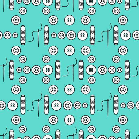 Seamless pattern with needles, buttons, threads. Sewing and needlework background. Template for design, fabric, print. Ilustração